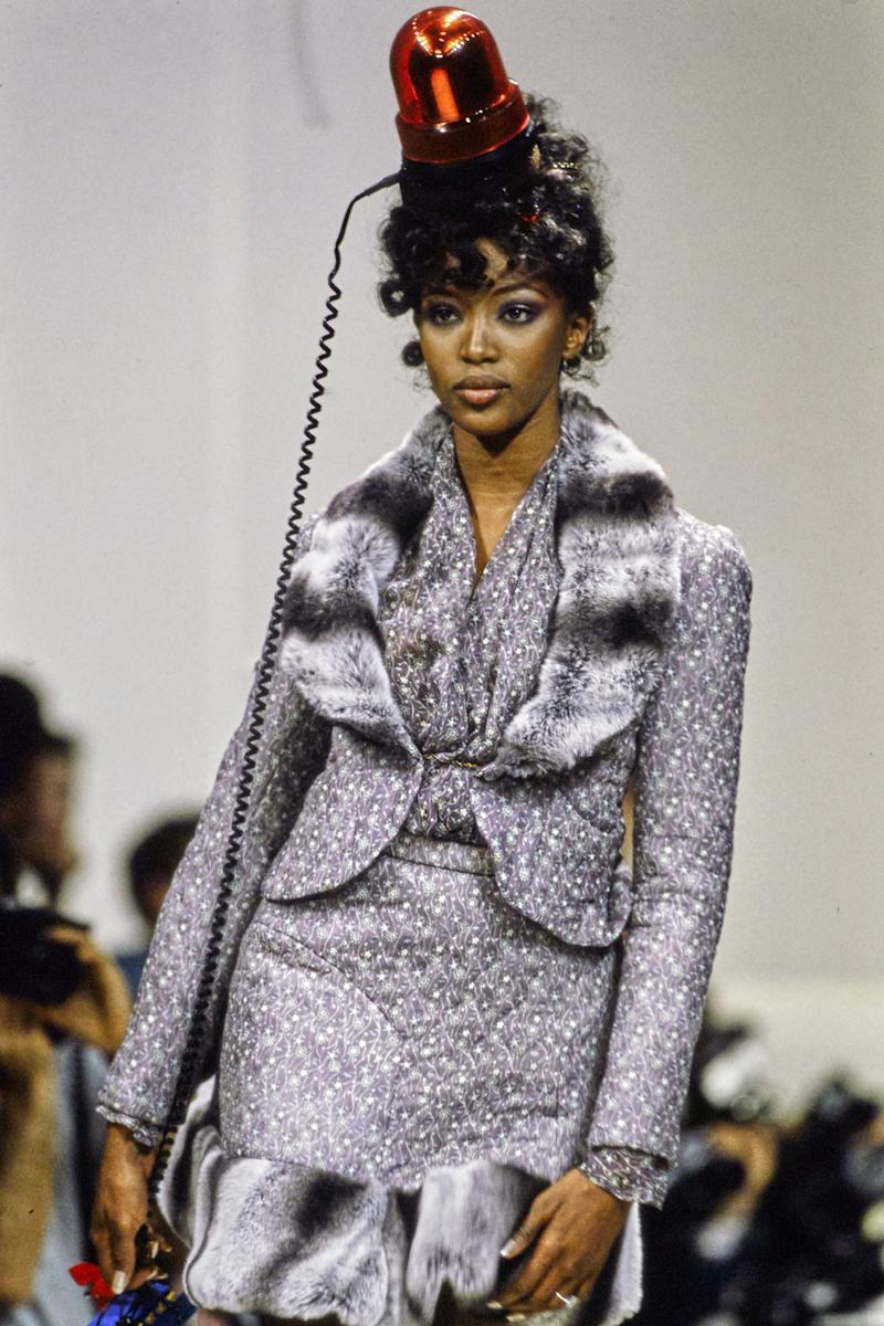 Naomi Campbell walks the runway of the Vivienne Westwood fall/winter 1994 show during Paris Fashion Week in 1994. Photo courtesy of Getty Images.