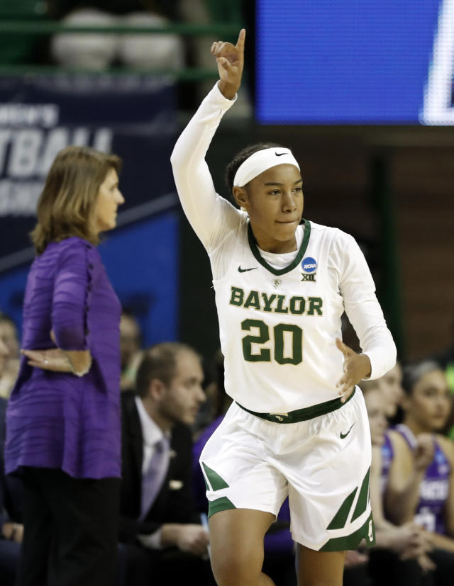 Baylor guard Juicy Landrum (20) celebrates sinking a 3-point basket in the first half of a first-round game against Abilene Christian in the NCAA womens college basketball tournament in Waco, Texas, Saturday March 23, 2019.(AP Photo/Tony Gutierrez)