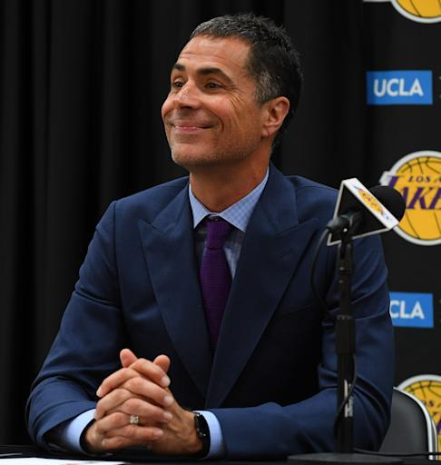 EL SEGUNDO, CA - JUNE 26: General manager Rob Pelinka of the Los Angeles Lakers answers question from the media during a press conference to introduce the team's 2018 NBA draft picks at the UCLA Health Training Center on June 26, 2018 in El Segundo, California. TO USER: User expressly acknowledges and agrees that, by downloading and/or using this Photograph, User is consenting to the terms and conditions of the Getty Images License Agreement. (Photo by Jayne Kamin-Oncea/Getty Images)