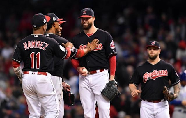 The Klubot, Corey Kluber, cracked a smile on the mound in Game 1 of the World Series. (Ken Blaze-USA TODAY Sports)