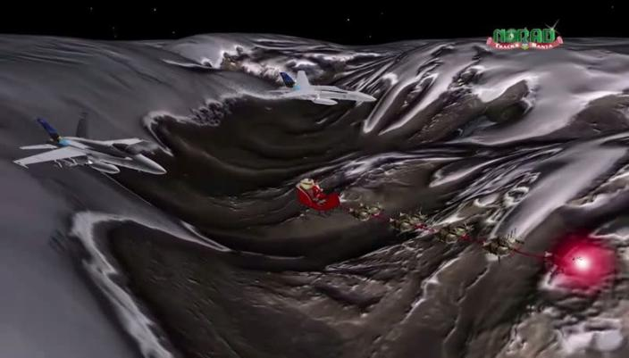 FILE PHOTO: Jets track Santa as he starts his journey as shown in this artist's rendition provided by North American Aerospace Defense Command Santa Tracker