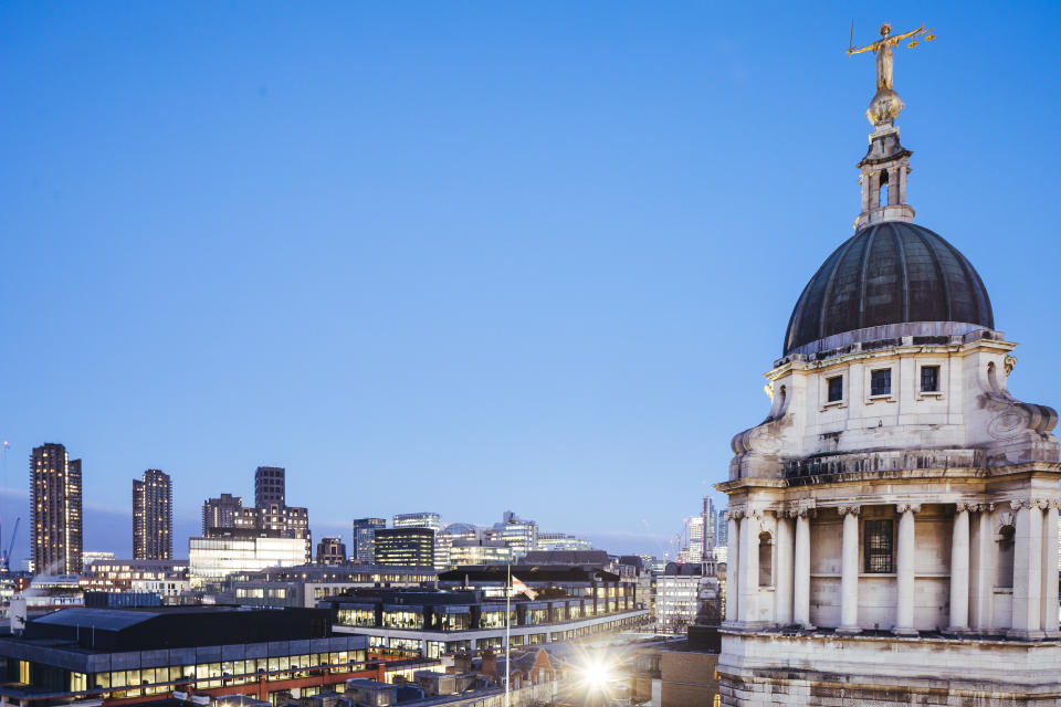 View of the main tower of Old Bailey the Central Criminal Court of England and Wales, and London skyline.