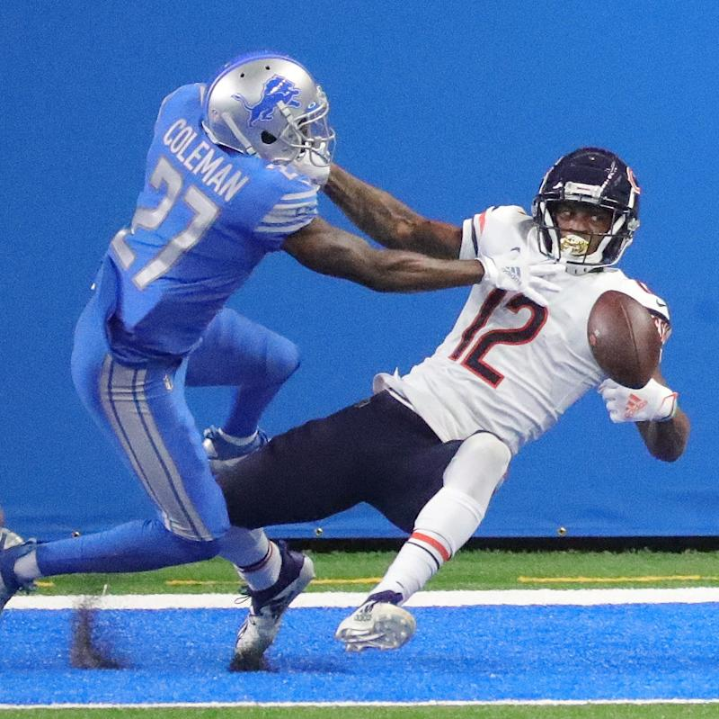 Lions cornerback Justin Coleman defends against Bears wide receiver Allen Robinson during the first half at Ford Field on Sunday, Sept. 13, 2020.