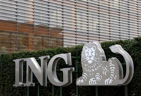 The logo of ING bank is seen at the entrance of the group's office in Brussels