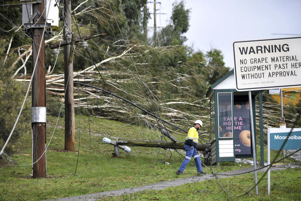 Downed power lines and fallen trees scatter the area in Lilydale, Melbourne, Australia, Thursday, June 10, 2021. Wild weather has toppled trees which have trapped people in cars and homes in Australia's southeast. More than 200,000 homes have been left without power as many brace for flooding (James Ross/AAP Image via AP)