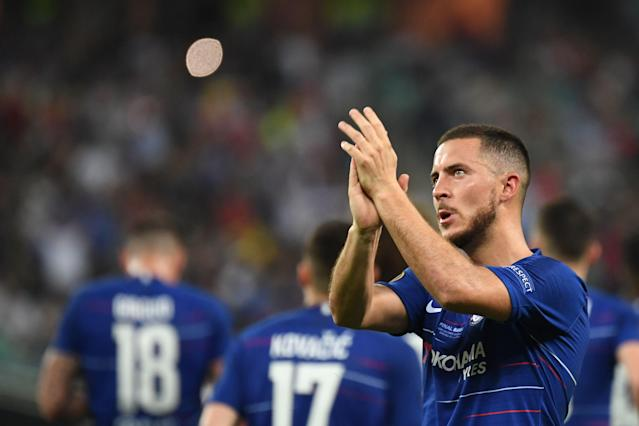 Chelsea's Belgian midfielder Eden Hazard celebrates after celebrates after scoring a goal during the UEFA Europa League final football match between Chelsea FC and Arsenal FC at the Baku Olympic Stadium in Baku, Azerbaijian, on May 29, 2019. (Photo by OZAN KOSE / AFP) (Photo credit should read OZAN KOSE/AFP/Getty Images)
