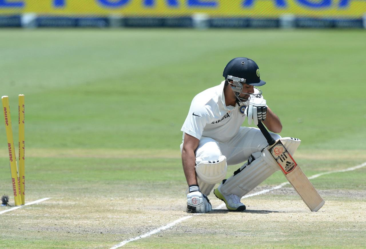 JOHANNESBURG, SOUTH AFRICA - DECEMBER 21: Rohit Sharma of India is bowled by Jaques Kallis (not pictured) for 6 runs during day 4 of the 1st Test match between South Africa and India at Bidvest Wanderers Stadium on December 21, 2013 in Johannesburg, South Africa. (Photo by Duif du Toit/Gallo Images/Getty Images)