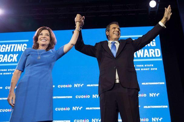 PHOTO: New York Gov. Andrew Cuomo, right, stands with Lieutenant Governor Kathy Hochul during an an election night watch party hosted by the New York State Democratic Committee, Nov. 6, 2018, in New York.  (Mary Altaffer/AP)
