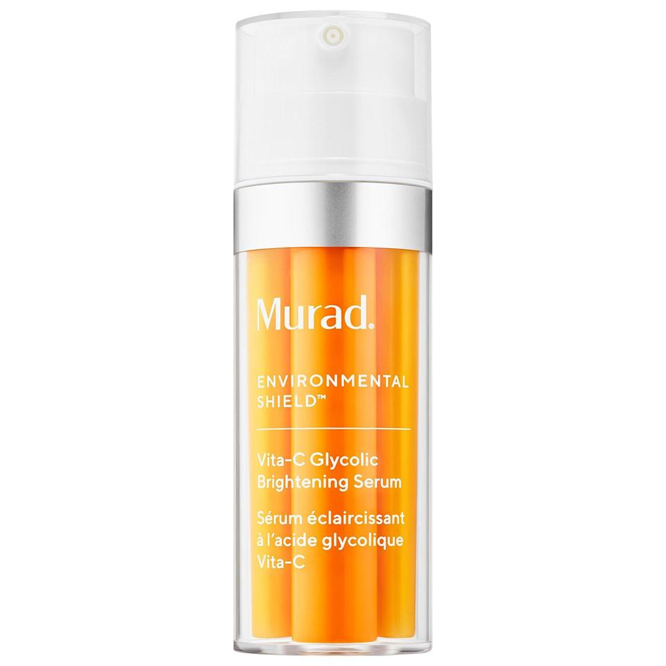 """<p><strong>Murad</strong></p><p>sephora.com</p><p><strong>$80.00</strong></p><p><a href=""""https://go.redirectingat.com?id=74968X1596630&url=https%3A%2F%2Fwww.sephora.com%2Fproduct%2Fmurad-vitamin-c-glycolic-brightening-serum-P456571&sref=https%3A%2F%2Fwww.oprahmag.com%2Fbeauty%2Fg28640232%2Fbest-vitamin-c-serums%2F"""" rel=""""nofollow noopener"""" target=""""_blank"""" data-ylk=""""slk:Shop Now"""" class=""""link rapid-noclick-resp"""">Shop Now</a></p><p>Formulated with Vita-C Complex and glycolic acid to remove dull skin cells, this illuminating serum instantly helps to even skin tone. </p>"""
