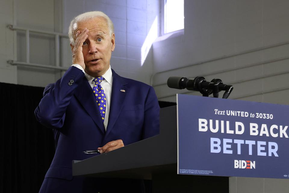 Democratic presidential candidate and former Vice President Joe Biden speaks about his plans to combat racial inequality at a campaign event in Wilmington, Delaware, on July 28. (Jonathan Ernst/Reuters)
