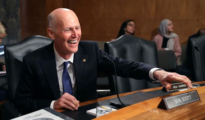 US Senator Rick Scott, Republican of Florida, spoke in support of the Hong Kong voters' election of pro-democracy candidates. Photo: AFP