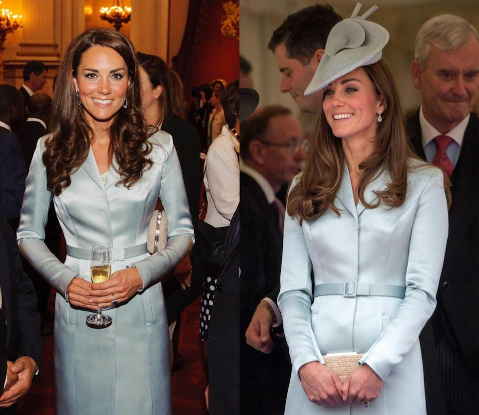 <p>Middleton first wore this ice blue Christopher Kane dress to a reception at Buckingham Palace in July 2012, and then again in June 2014 with a matching hat for the Order of the Garter Service. </p>