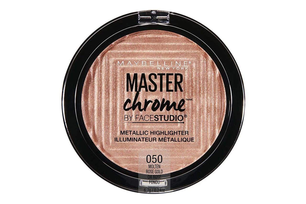 "<p><a rel=""nofollow"" href=""https://www.maybelline.com/face-makeup/contouring/facestudio-master-chrome-metallic-highlighter"">SHOP IT</a><strong></strong></p><p><strong><strong>The Shades: </strong></strong> </p><p><a rel=""nofollow"" href=""https://www.maybelline.com/face-makeup/contouring/facestudio-master-chrome-metallic-highlighter/molten-gold"">Molten gold </a>(fair skin), <a rel=""nofollow"" href=""https://www.maybelline.com/face-makeup/contouring/facestudio-master-chrome-metallic-highlighter/molten-rose-gold"">molten rose gold</a> (medium skin), <a rel=""nofollow"" href=""https://www.maybelline.com/face-makeup/contouring/facestudio-master-chrome-metallic-highlighter/molten-peach"">molten peach </a>(dark skin), <a rel=""nofollow"" href=""https://www.maybelline.com/face-makeup/contouring/facestudio-master-chrome-metallic-highlighter/molten-topaz"">molten topaz </a>(deep skin)</p><p><strong>The Reviews: </strong></p><p>""Without a doubt, Maybelline Master Chrome [is my favorite]. <strong>It was so good, my jaw dropped open when I first tried it,</strong>"" <a rel=""nofollow"" href=""https://www.reddit.com/r/MakeupAddiction/comments/7iqs5v/best_drugstore_highlighter/dr15ji3"">wrote </a>one Redditor, while <a rel=""nofollow"" href=""https://www.reddit.com/r/MakeupAddiction/comments/7l39qb/best_drugstore_highlighter/drjjol1"">another </a>added, ""The shade Molten Gold is sooo pigmented and not glittery at all.""</p><p> And, just in case you're still not sold, listen to this <a rel=""nofollow"" href=""https://www.reddit.com/r/MakeupAddiction/comments/7z14gz/whats_your_favorite_highlighter/duljx3s"">reviewer</a>, who sums up the highlighter's pros perfectly: ""It can be worn sheer and glowy, or built up to be very metallic. It's not glittery at all. Buildable, long-lasting, and inexpensive.""</p>"