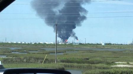 Smoke rises from Valero Energy Corp's refinery plant in Texas City, in this still image from video obtained via social media