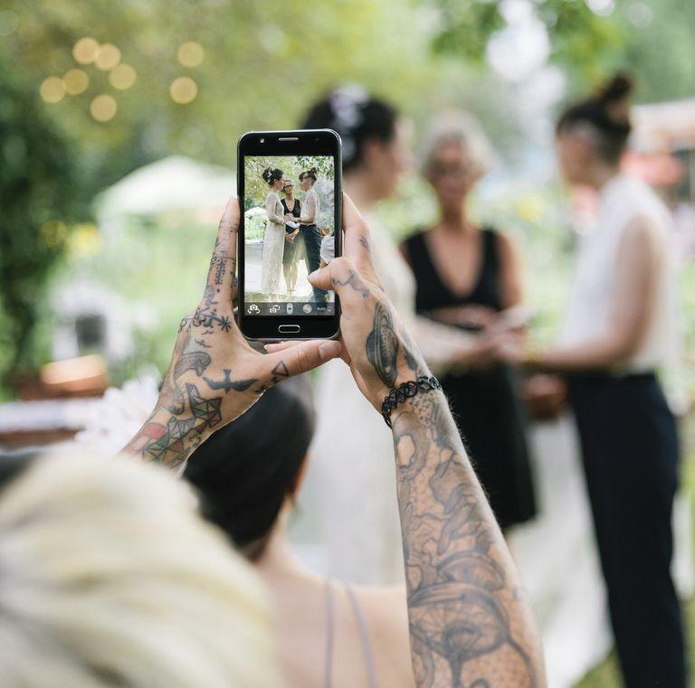 """<p>The background music to """"I do"""" shouldn't be your ringtone. But if your phone does go off, there's only one way to handle it, according to Swann: """"Simply locate your device, turn it off quickly, and turn your attention and your focus back to the ceremony. This will cause others to do the same.""""</p>"""