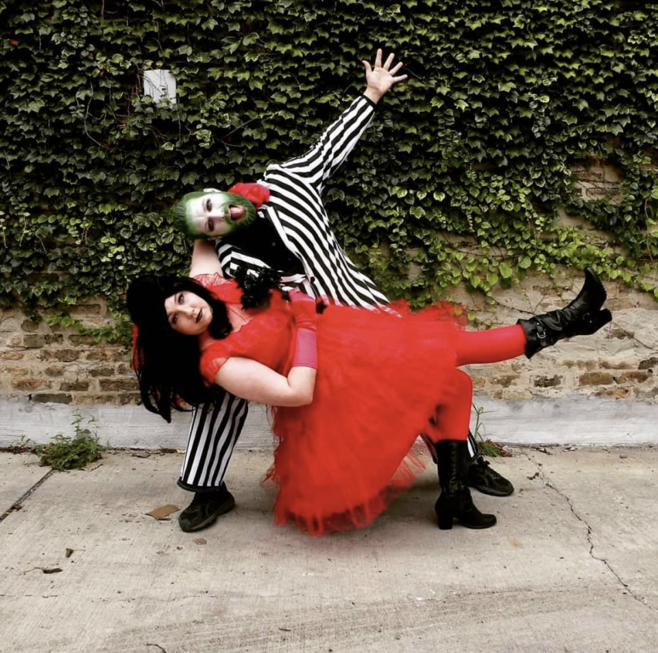 """<p>Try to return to the world of the living by dressing as goth girl, Lydia and Beetlejuice this fall.</p><p><a class=""""link rapid-noclick-resp"""" href=""""https://www.amazon.com/Beetlejuice-Costume-Black-White-X-Large/dp/B00W9WU0ZM/?tag=syn-yahoo-20&ascsubtag=%5Bartid%7C10072.g.27868801%5Bsrc%7Cyahoo-us"""" rel=""""nofollow noopener"""" target=""""_blank"""" data-ylk=""""slk:SHOP BEETLEJUICE COSTUME"""">SHOP BEETLEJUICE COSTUME</a></p>"""