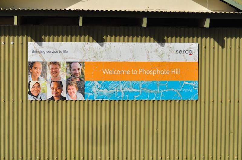 A welcome sign from management company Serco adorns the side of a building in the Christmas Island immigration detention centre in 2013.