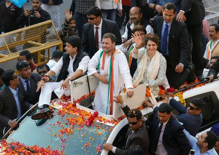 FILE PHOTO: Priyanka Gandhi Vadra, a leader of India's main opposition Congress party and sister of the party president Rahul Gandhi, waves to her supporters during a roadshow in Lucknow, India, February 11, 2019. REUTERS/Pawan Kumar/File Photo