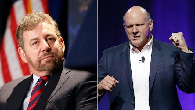 Knicks owner James Dolan (left) has a rooting interest in keeping Clippers owner Steve Ballmer (right) out of Inglewood. (AP)