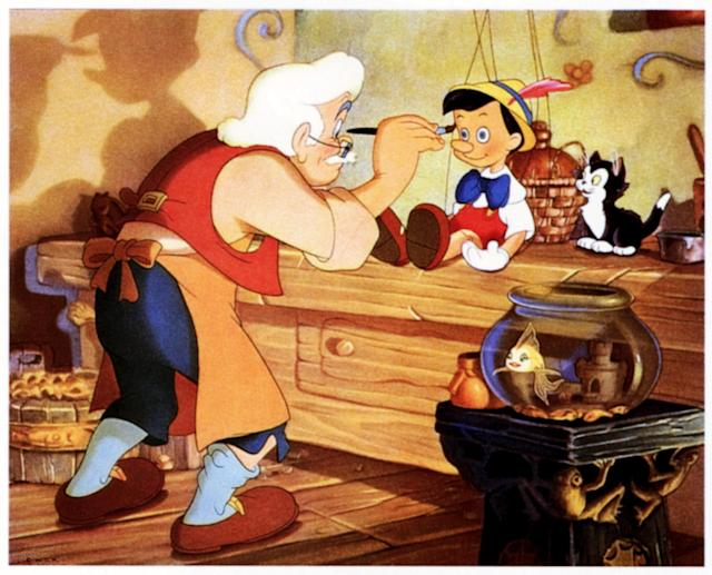 Pinocchio, lobbycard, from left: Gepetto, , Figaro, lower right: Cleo, 1940. (Photo by LMPC via Getty Images)