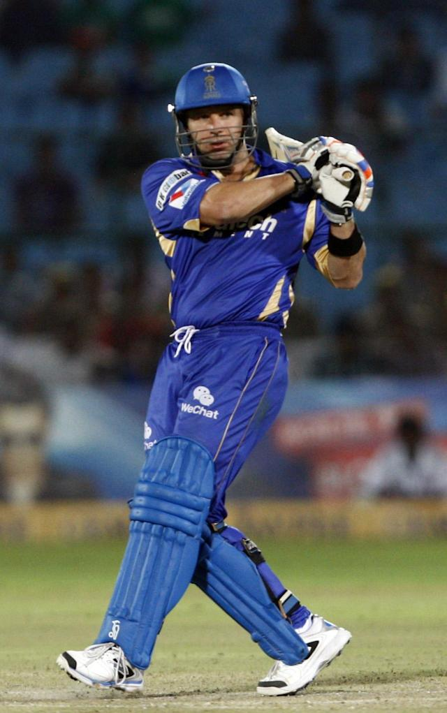 Rajasthan Royals batsman Brad Hodge in action during the CLT20 match between Rajasthan Royals and Otago Volts at Sawai Mansingh Stadium in Jaipur on Oct. 1, 2013. (Photo: IANS)