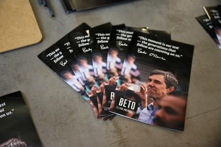 Pamphlets for Democratic 2020 U.S. presidential candidate O'Rourke in Keene