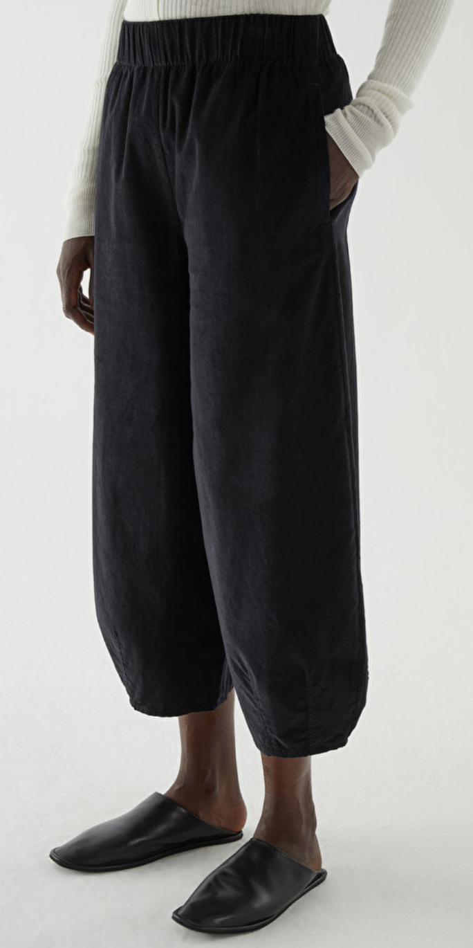 COS Cotton Curved-Leg Corduroy Culottes in Black