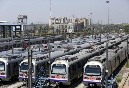 Delhi Metro Rail Corporation trains are seen parked at a metro depot in New Delhi