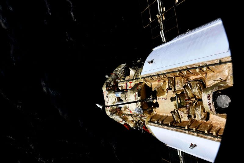 The Nauka (Science) Multipurpose Laboratory Module is seen docked to the International Space Station (ISS)