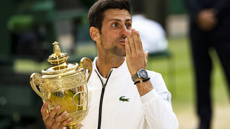 Novak Djokovic blows a kiss to his family after winning the Wimbledon final. (Photo by TPN/Getty Images)