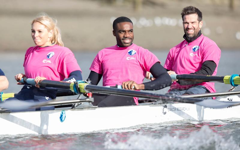 Strictly champion Ore Oduba takes to the water ahead of presenter Gethin Jones - Handout Cancer Research