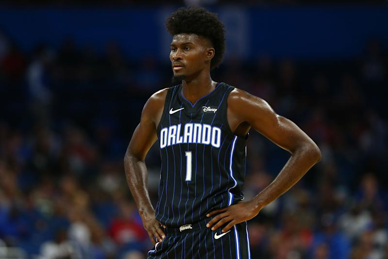 Nov 1, 2019; Orlando, FL, USA;Orlando Magic forward Jonathan Isaac (1) during the first quarter at Amway Center. Mandatory Credit: Kim Klement-USA TODAY Sports