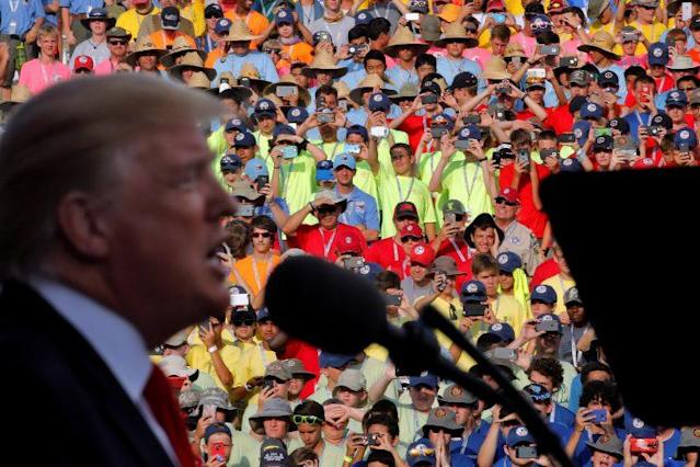 President Trump delivers remarks at the 2017 National Scout Jamboree in Summit Bechtel National Scout Reserve, W.Va., July 24, 2017. (Photo: Carlos Barria/Reuters)