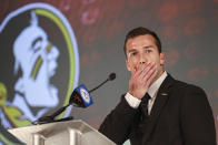 Florida State quarterback McKenzie Milton listens to a question during an NCAA college football news conference at the Atlantic Coast Conference media days in Charlotte, N.C., Thursday, July 22, 2021. (AP Photo/Nell Redmond)