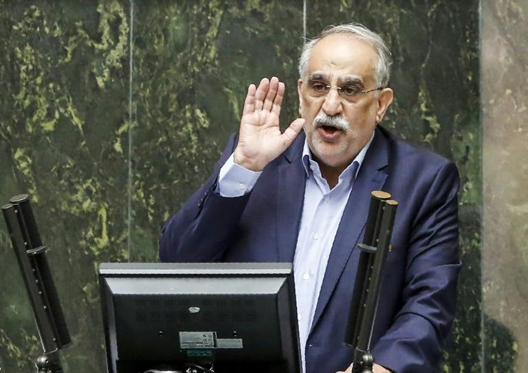 Iran's Economy Minister Masoud Karbasian speaks in parliament before a vote by lawmakers which saw him impeached, on August 26, 2018