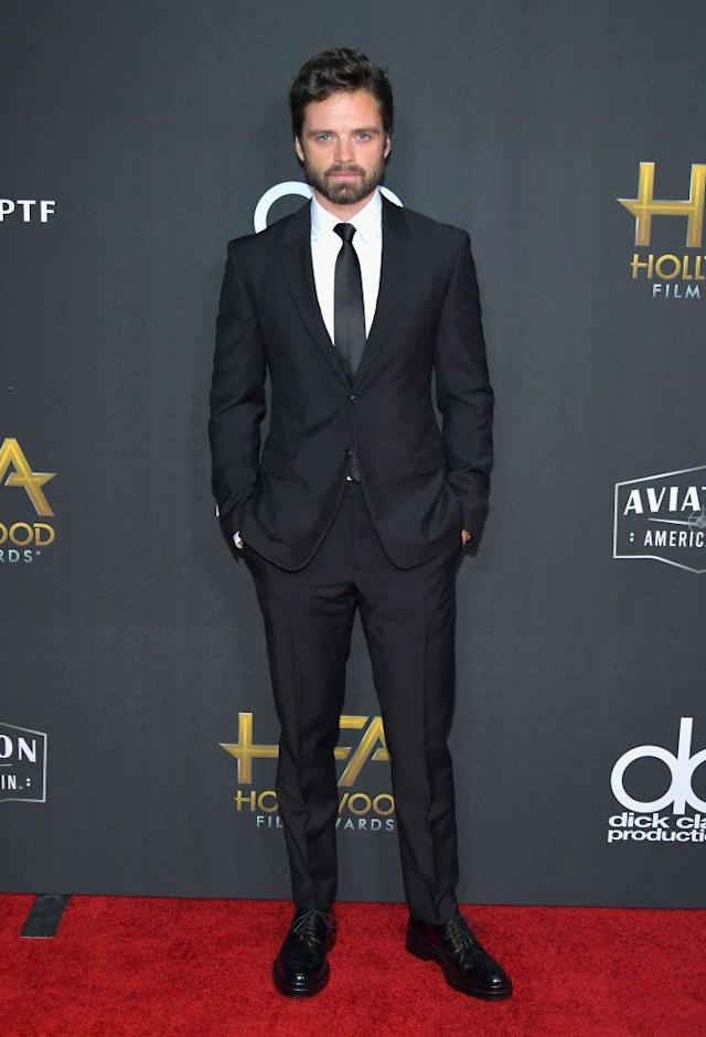 <p>Stan proves that you can never go wrong with a classic black suit. (Photo: Getty Images) </p>