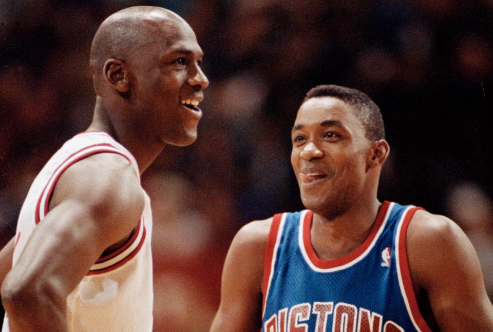 Isiah Thomas apparently wasn't aware that Michael Jordan thought he was an a--hole.  (AP Photo/Fred Jewell)