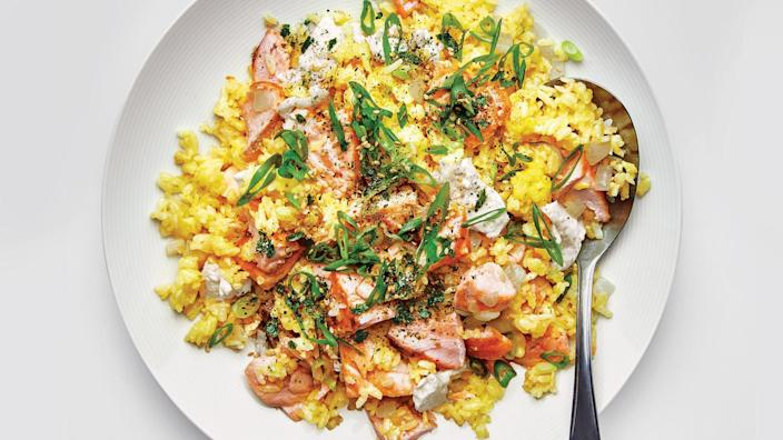 """<a href=""""https://www.bonappetit.com/recipe/golden-fried-rice-with-salmon-and-furikake?mbid=synd_yahoo_rss"""" rel=""""nofollow noopener"""" target=""""_blank"""" data-ylk=""""slk:See recipe."""" class=""""link rapid-noclick-resp"""">See recipe.</a>"""