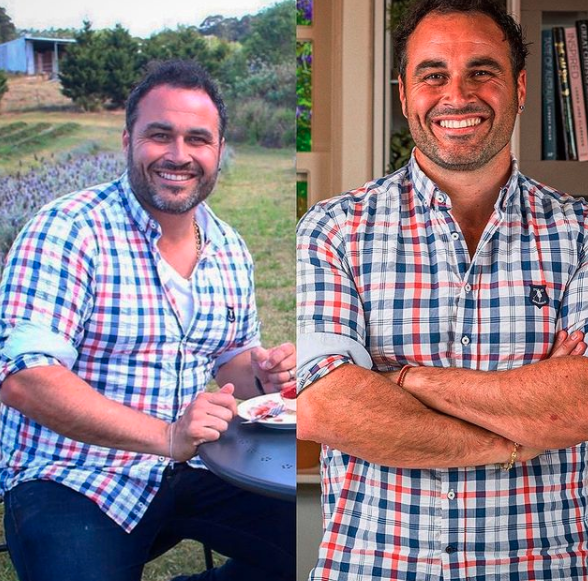 Miguel Maestre before and after shots weight loss wearing same plaid shirt