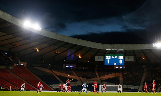 Scotland play Denmark in an international friendly at a sparsely attended Hampden Park in 2016.