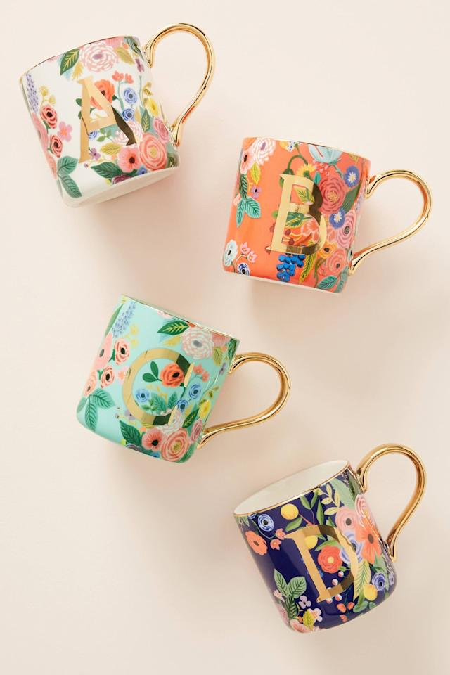 """<p>Make it personal with a <a href=""""https://www.popsugar.com/buy/Rifle-Paper-Co-Anthropologie-Garden-Party-Monogram-Mug-499877?p_name=Rifle%20Paper%20Co.%20For%20Anthropologie%20Garden%20Party%20Monogram%20Mug&retailer=anthropologie.com&pid=499877&price=14&evar1=savvy%3Aus&evar9=45342302&evar98=https%3A%2F%2Fwww.popsugar.com%2Fsmart-living%2Fphoto-gallery%2F45342302%2Fimage%2F46883518%2FRifle-Paper-Co-For-Anthropologie-Garden-Party-Monogram-Mug&list1=shopping%2Cgifts%2Choliday%2Cchristmas%2Cgift%20guide%2Cgifts%20for%20women&prop13=api&pdata=1"""" rel=""""nofollow"""" data-shoppable-link=""""1"""" target=""""_blank"""" class=""""ga-track"""" data-ga-category=""""Related"""" data-ga-label=""""https://www.anthropologie.com/shop/rifle-paper-co-for-anthropologie-garden-party-monogram-mug?category=all-gifts&amp;color=901&amp;type=STANDARD"""" data-ga-action=""""In-Line Links"""">Rifle Paper Co. For Anthropologie Garden Party Monogram Mug</a> ($14).</p>"""