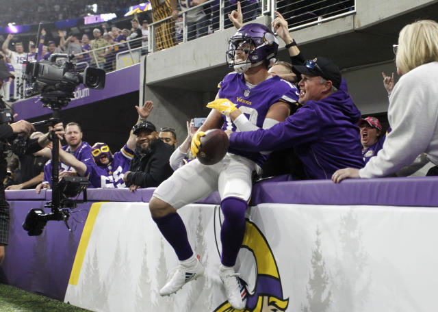 Minnesota Vikings wide receiver Adam Thielen grew up idolizing Vikings Hall of Famer Randy Moss. (AP Photo/Bruce Kluckhohn)