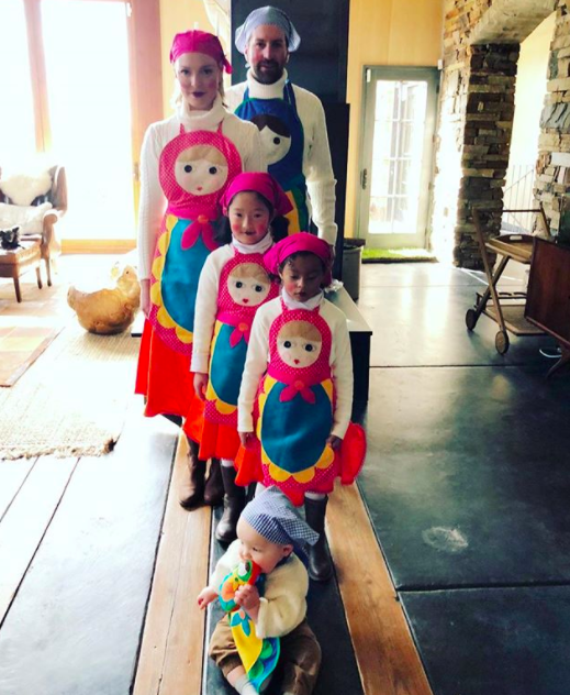 """<p>The <em>Grey's Anatomy</em> alum and her fam, including her singer hubby Josh Kelley, were nesting dolls. """"The big reveal! Well … it's Big to me at least!"""" she wrote. """"I realize we look like we could be a bunch of bakers, chefs, or flight attendants but we are in fact RUSSIAN NESTING DOLLS! Hahahah! I'm sorry, I just think we all look hilarious! Family themed costumes may be a new tradition … at least as long as I can talk my kids into it!"""" (Photo: <a href=""""https://www.instagram.com/p/Ba7N_a_he5l/?hl=en&taken-by=katherineheigl"""" rel=""""nofollow noopener"""" target=""""_blank"""" data-ylk=""""slk:Katherine Heigl via Instagram"""" class=""""link rapid-noclick-resp"""">Katherine Heigl via Instagram</a>) </p>"""