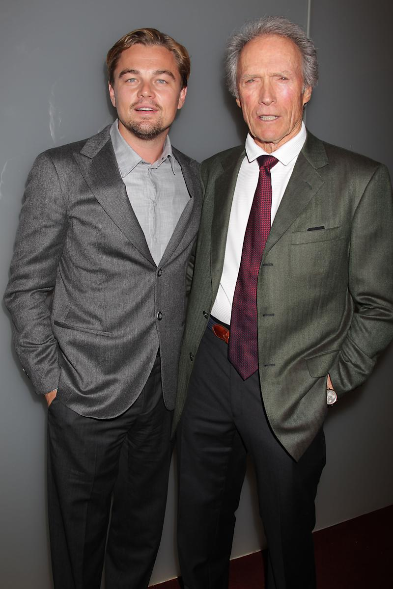 """In this image taken Monday, Nov. 7, 2011, actor Leonardo DiCaprio, left, poses with director Clint Eastwood at a private screening of their film, """"J. Edgar,"""" at the Time Warner Screening Room in New York. DiCaprio portrays FBI director J. Edgar Hoover in Eastwood's moving and controversial biopic, in theaters Wednesday, Nov. 9.  (AP Photo/Starpix, Dave Allocca)"""