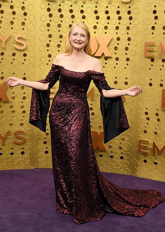 """Patricia Clarkson looked regal in an off-the-shoulder sequinned gown on the purple carpet. Clarkson is nominated for """"Outstanding Supporting Actress in a Limited Series or a Movie"""" for her role in the HBO series 'Sharp Objects'. [Photo: Getty]"""
