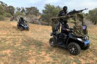Security forces take part in a training in Tripoli