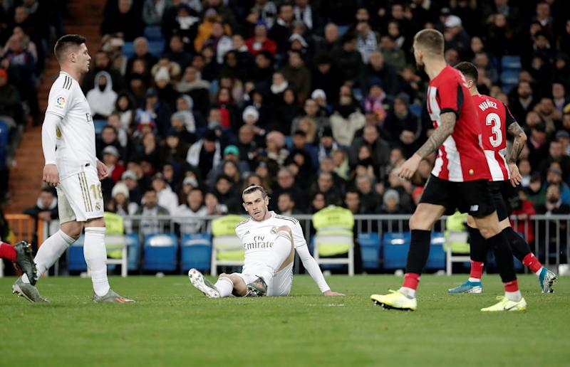 MADRID, SPAIN - DECEMBER 22: Gareth Bale (C) and Luka Jovic (L) of Real Madrid are seen during the La Liga match between Real Madrid and Athletic de Bilbao at the Santiago Bernabeu on December 22, 2019 in Madrid, Spain. (Photo by Burak Akbulut/Anadolu Agency via Getty Images)