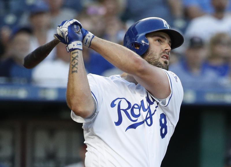 The Kansas City Royals have traded veteran third-base Mike Moustakas to the Brewers. (AP)