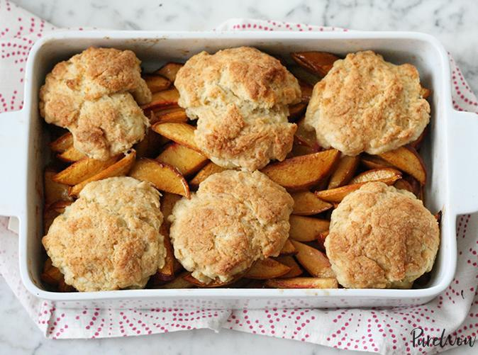 """<p>Have biscuit dough, will travel. </p> <p><a class=""""link rapid-noclick-resp"""" href=""""https://www.purewow.com/entry_detail/recipe/11300/Peach-Cobbler-Recipe.htm"""" rel=""""nofollow noopener"""" target=""""_blank"""" data-ylk=""""slk:Get the recipe"""">Get the recipe</a></p>"""