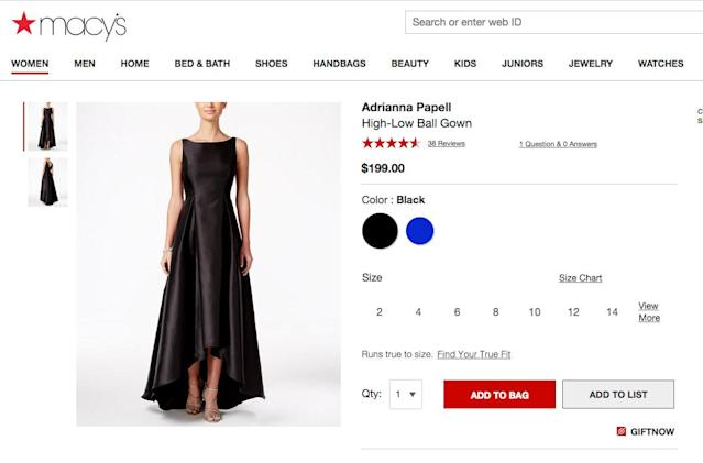 The dress in question. (Photo: Courtesy of Macy's)